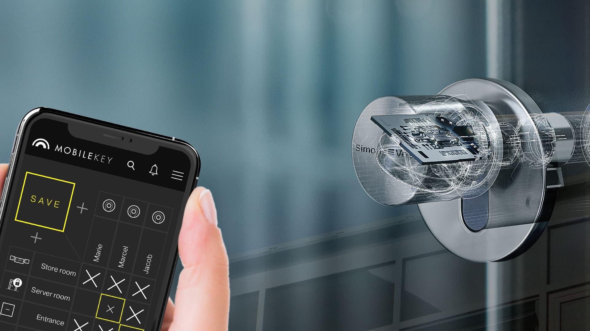 Smartphone mit MobileKey App und digitalem Schließzylinder